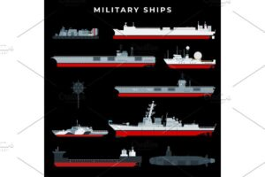 Download Warship set with boat