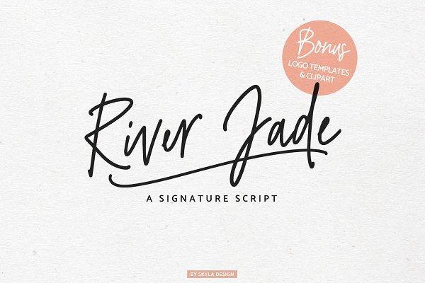 Download River Jade signature font & logos
