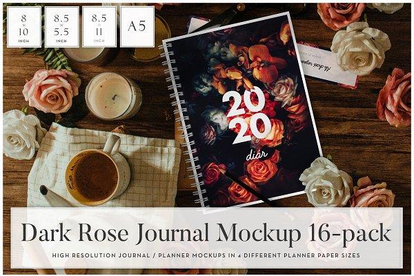 Download Dark Rose Journal Mockups (16 in 1)