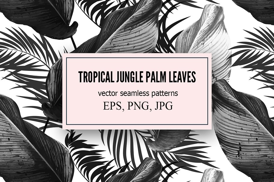 Download Tropical palm leaves vector patterns