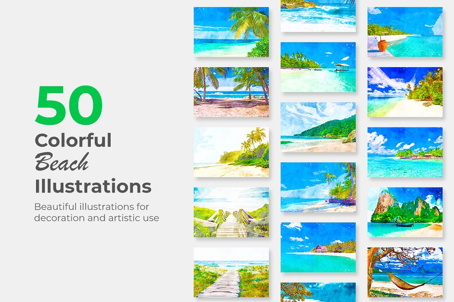 Download Colorful Illustrations - Beaches