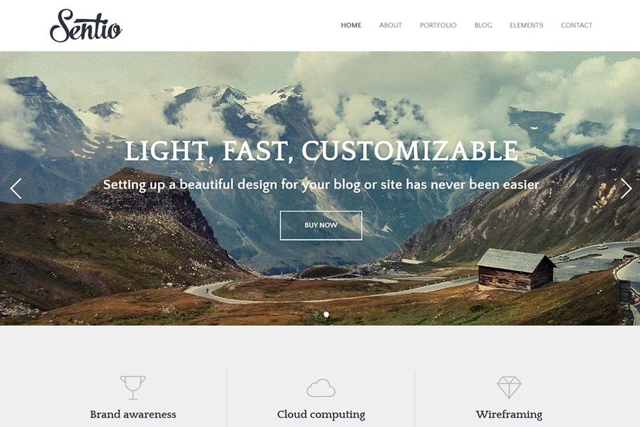 Download Sentio Pro - elegant blog WP theme