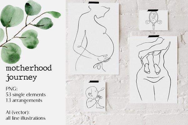 Download motherhood journey // graphic set