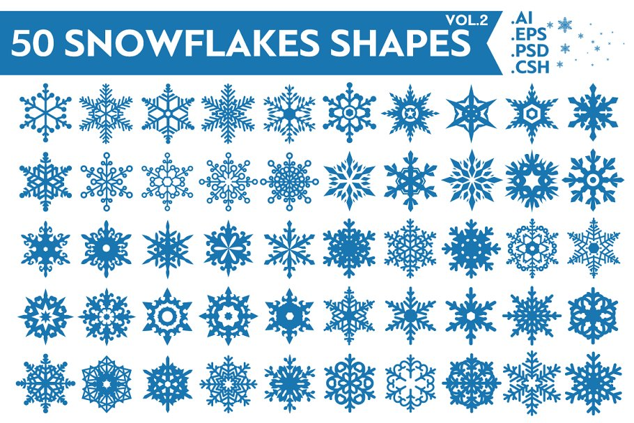Download 50 Snowflakes Vector Shapes Vol.2