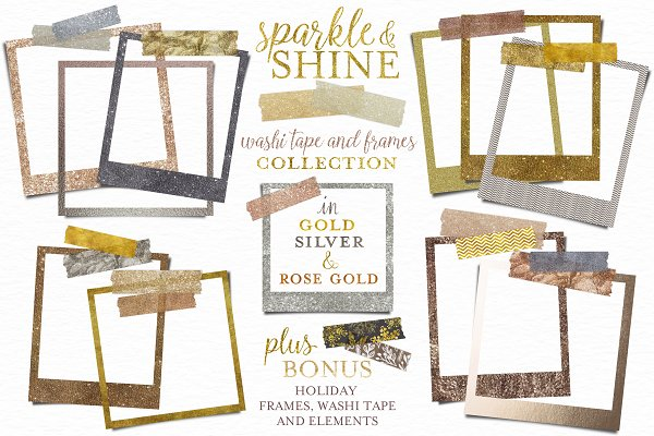 Download Glitter Washi Tape and Frames