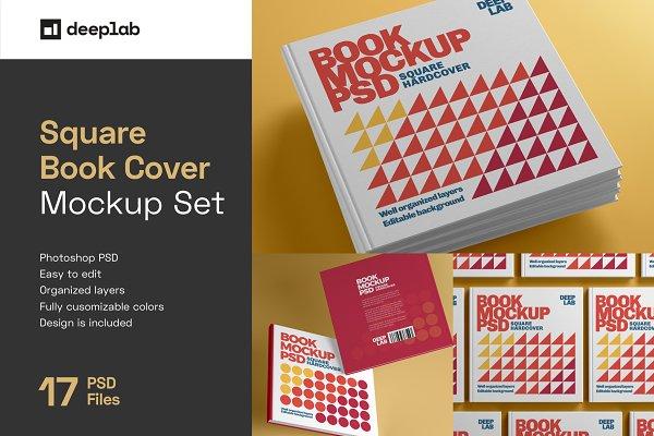 Download Square Book Hardcover Mockup Set