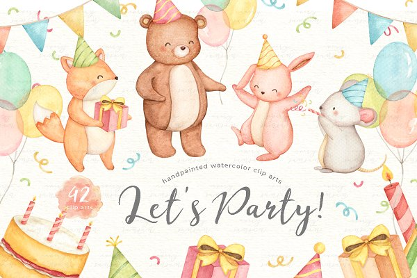 Download Let's Party Animals Watercolor Set