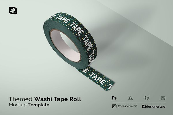 Download Themed Washi Tape Roll Mockup