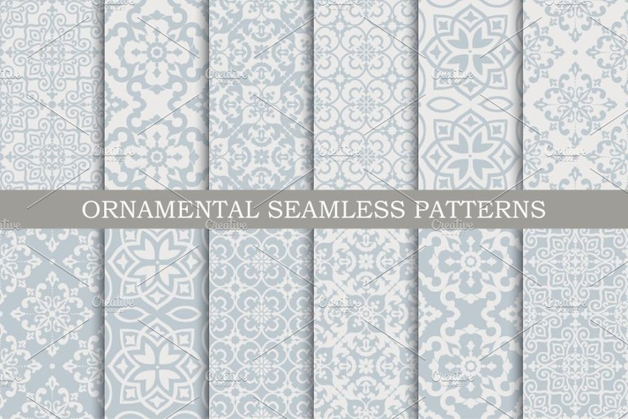Download 12 ornament seamless vector patterns