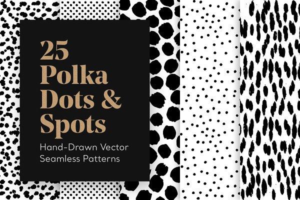 Download 25 Hand-Drawn Polka Dot Patterns