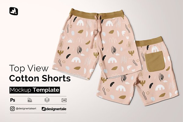 Download Top View Cotton Shorts Mockup