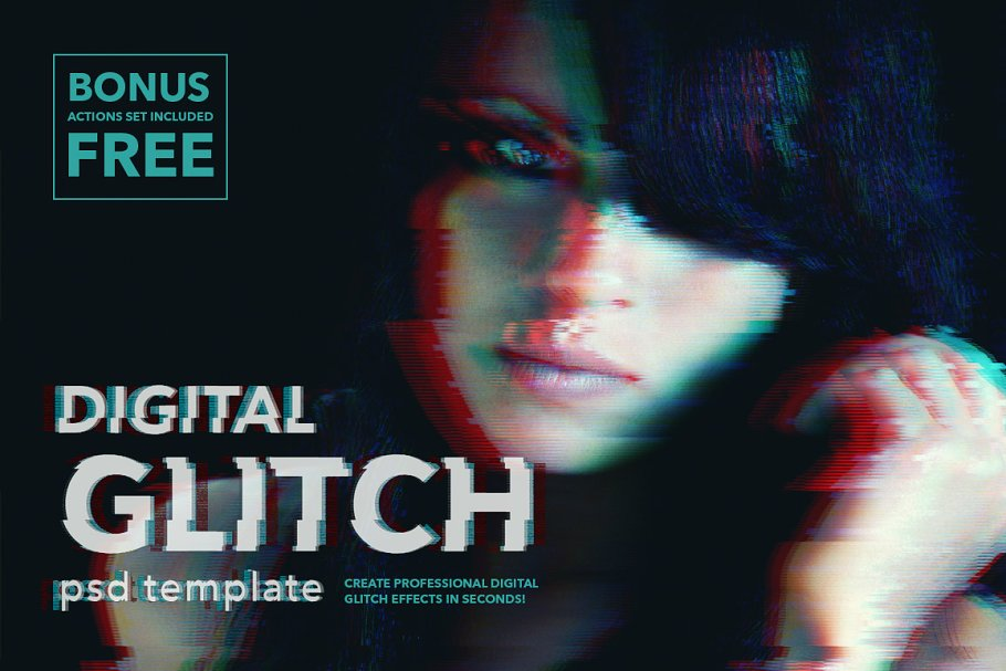 Download Digital Glitch Effect PSD Templates
