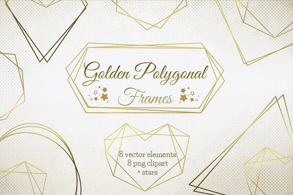Download Gold Polygonal Frames clipart