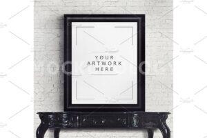 Download 8x10 Mockup Frame on Vintage Table