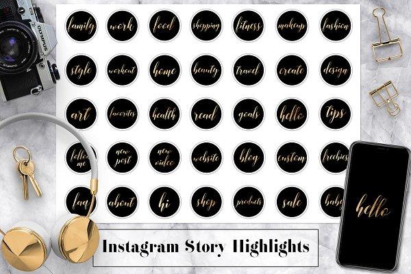 Download Gold & Black Instagram Icons