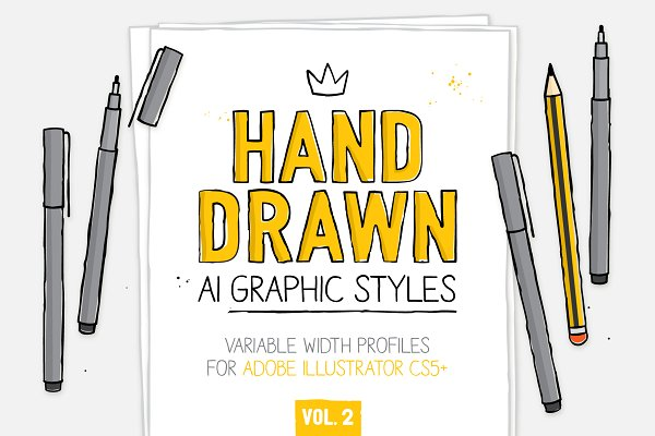 Download AI hand drawn styles & brushes vol.2