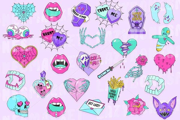 Download Pastel goth valentines clipart
