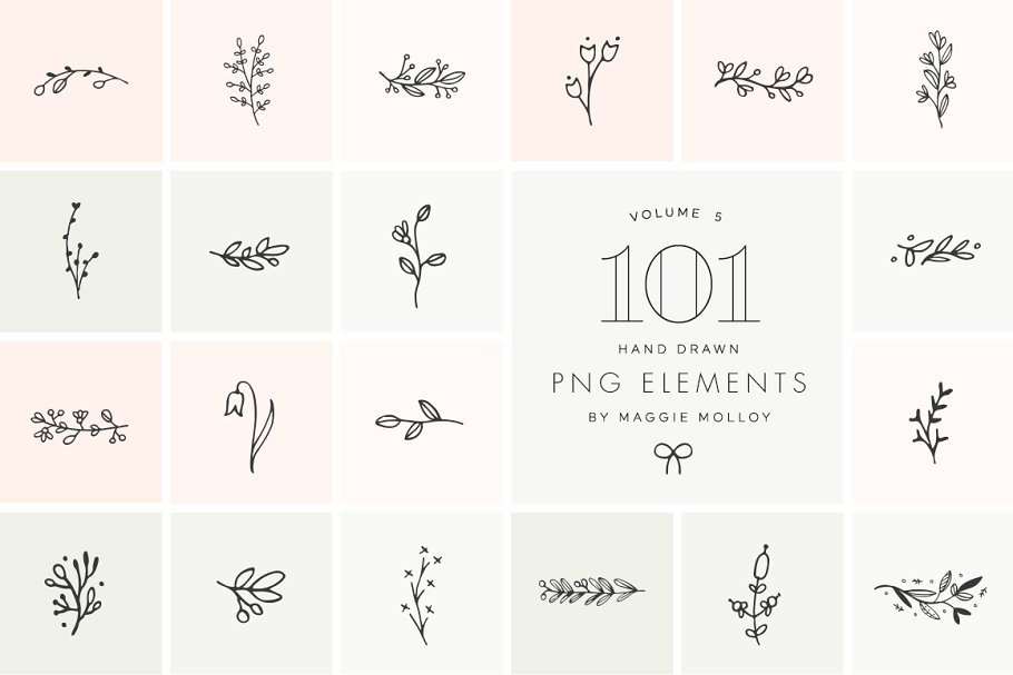 Download PNG 101 Hand Drawn Botanical Element