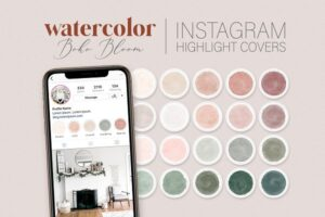 Download Blush & Green Instagram Cover Icons