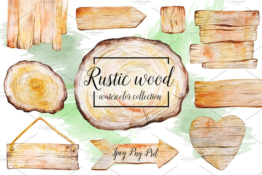 Download Rustic watercolor wood collection