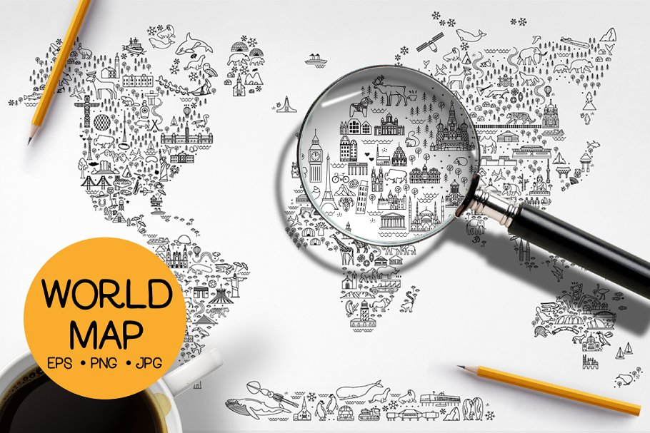 Download World Travel Line Icons Map