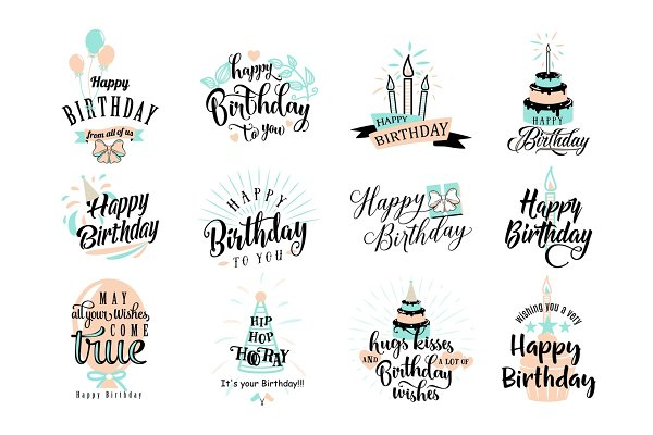 Download Happy Birthday badge set