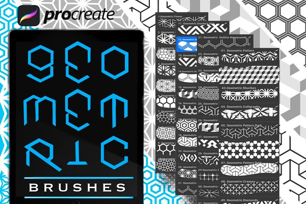 Download 72 Geometric Procreate Brushes